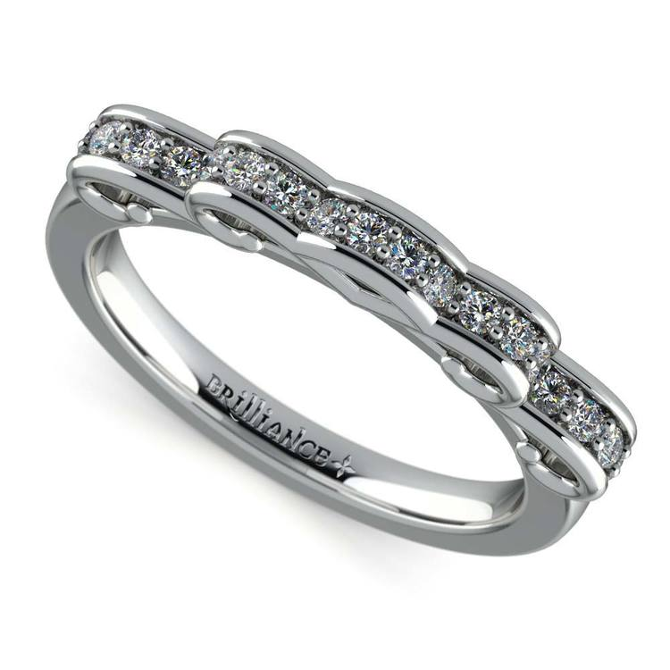 cinderella ribbon diamond wedding ring in white gold 01 - Cinderella Wedding Ring