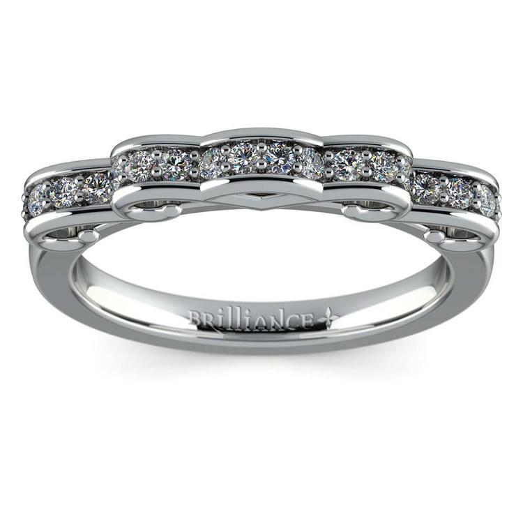 Cinderella Ribbon Diamond Wedding Ring in White Gold   02