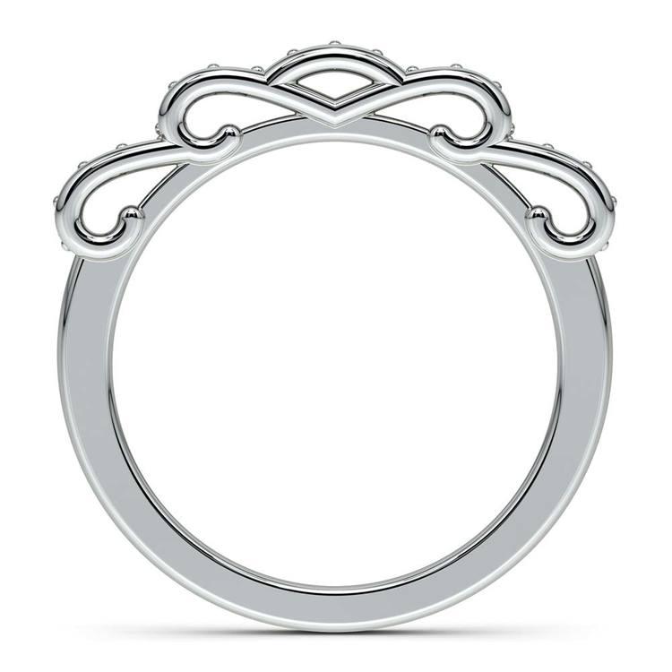 Cinderella Ribbon Diamond Wedding Ring in White Gold   03