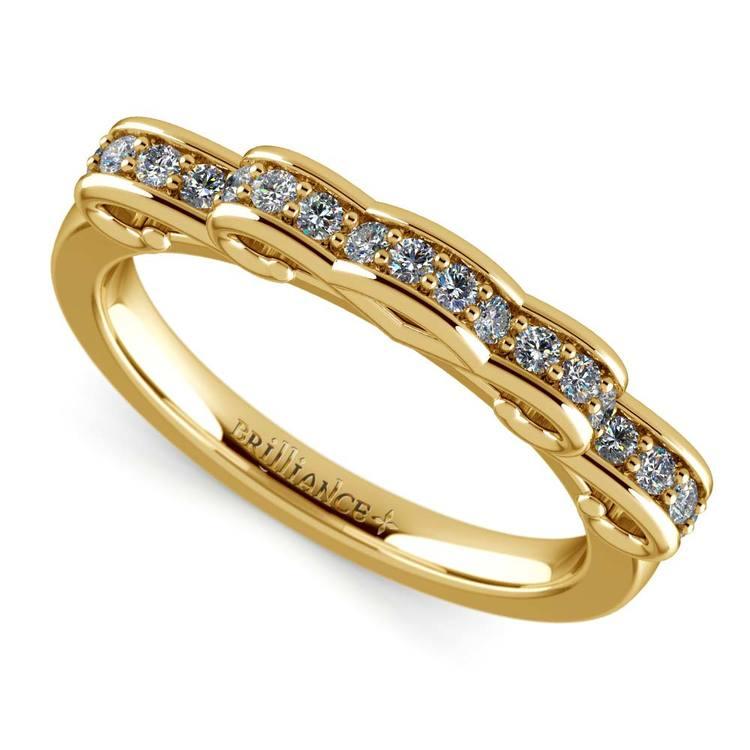 Cinderella Ribbon Diamond Wedding Ring in Yellow Gold | 01