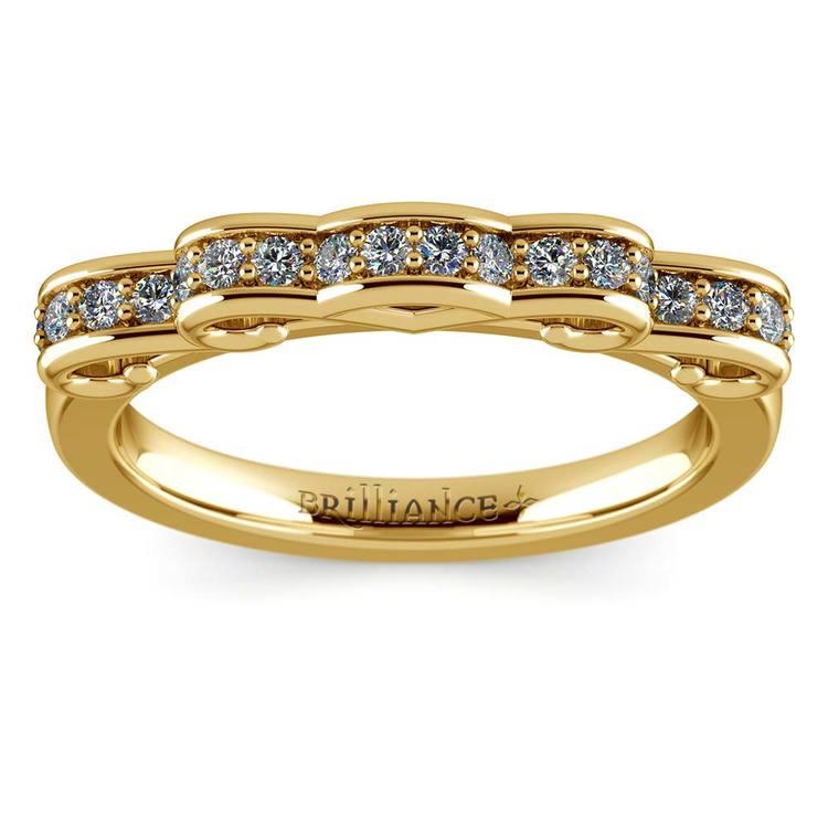 Cinderella Ribbon Diamond Wedding Ring in Yellow Gold | 02