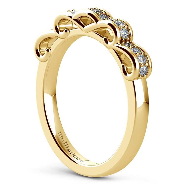 Cinderella Ribbon Diamond Wedding Ring in Yellow Gold | 04
