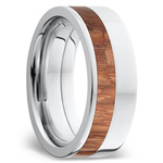 Fat Cat - Cobalt Chrome Mens Band with Leopard Wood Inlay | Thumbnail 02