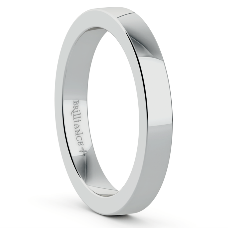 Flat Men's Wedding Ring in Platinum (3mm) | 02