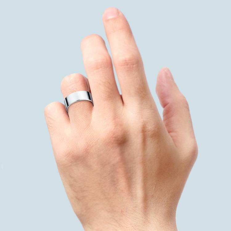 Flat Men's Wedding Ring in Platinum (8mm) | 03