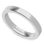 Flat Men's Wedding Ring in White Gold (3mm) | Thumbnail 01
