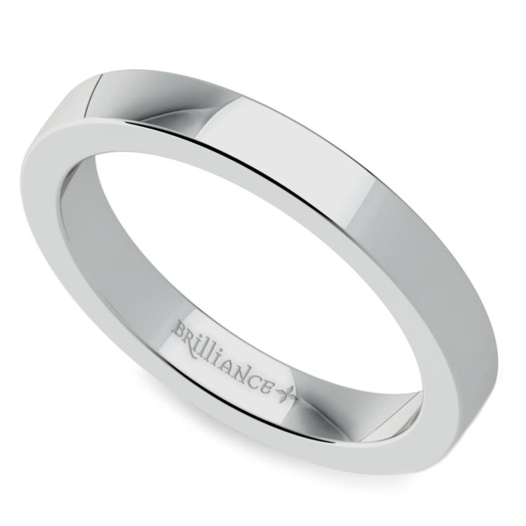 Flat Men's Wedding Ring in White Gold (3mm) | 01