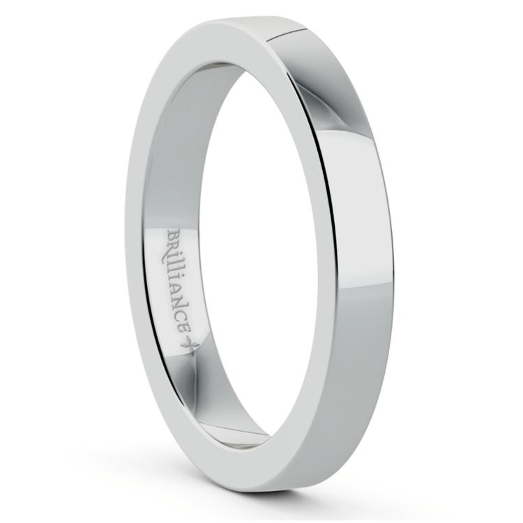 Flat Men's Wedding Ring in White Gold (3mm) | 02
