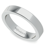 Flat Men's Wedding Ring in White Gold (4mm) | Thumbnail 01