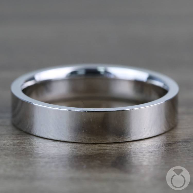 Flat Men's Wedding Ring in White Gold (4mm) | 03