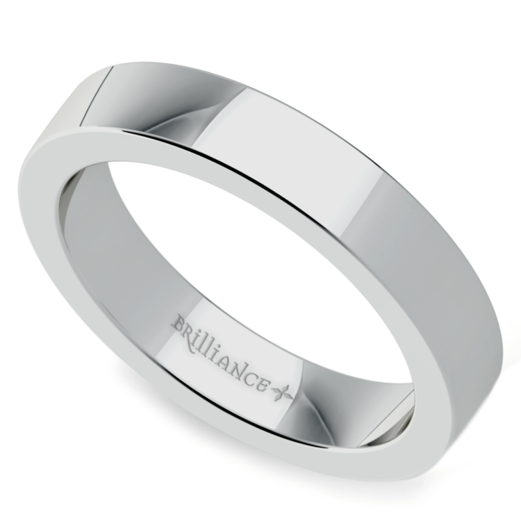Flat Men's Wedding Ring in White Gold (4mm) | 01