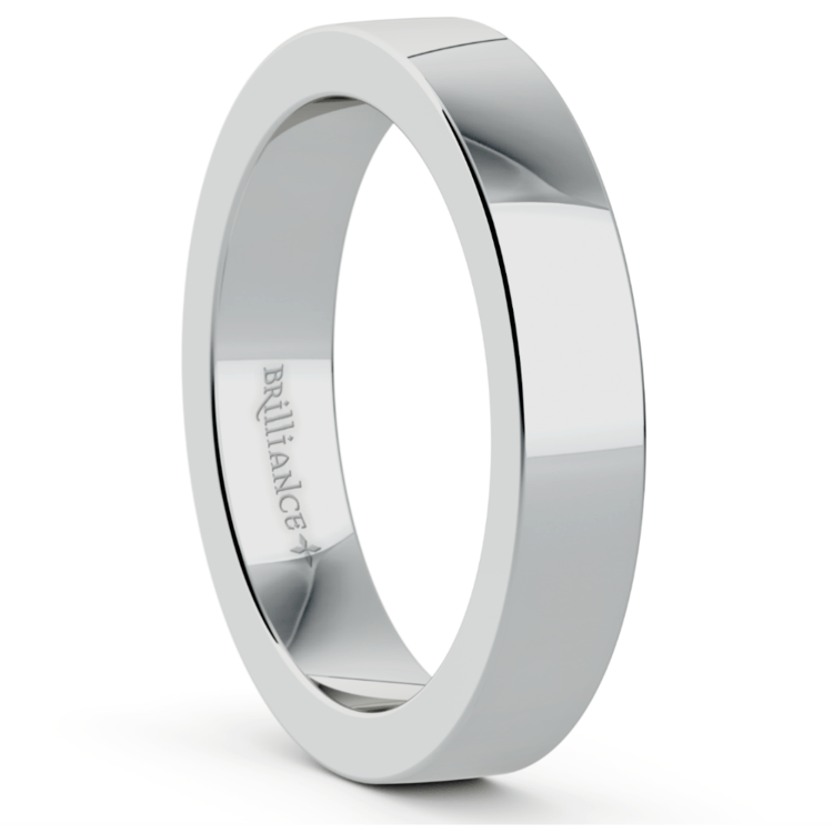 Flat Men's Wedding Ring in White Gold (4mm) | 02