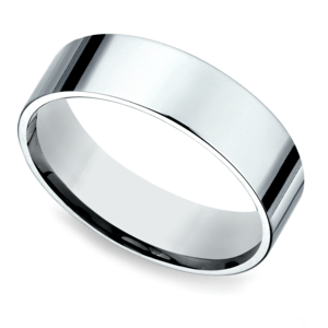 Flat Men's Wedding Ring in White Gold (6mm)