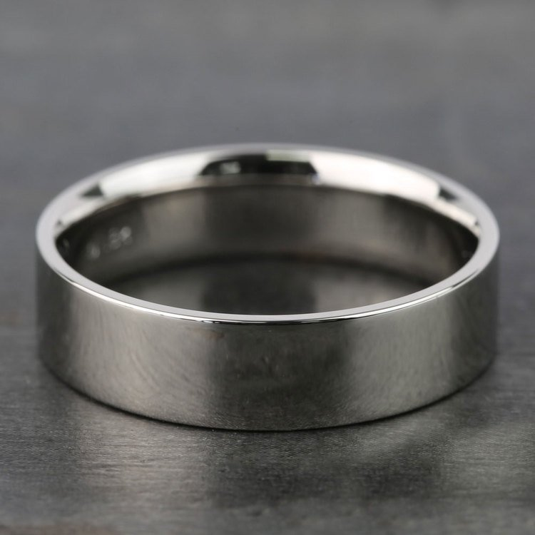 Flat Men's Wedding Ring in White Gold (6mm) | 03
