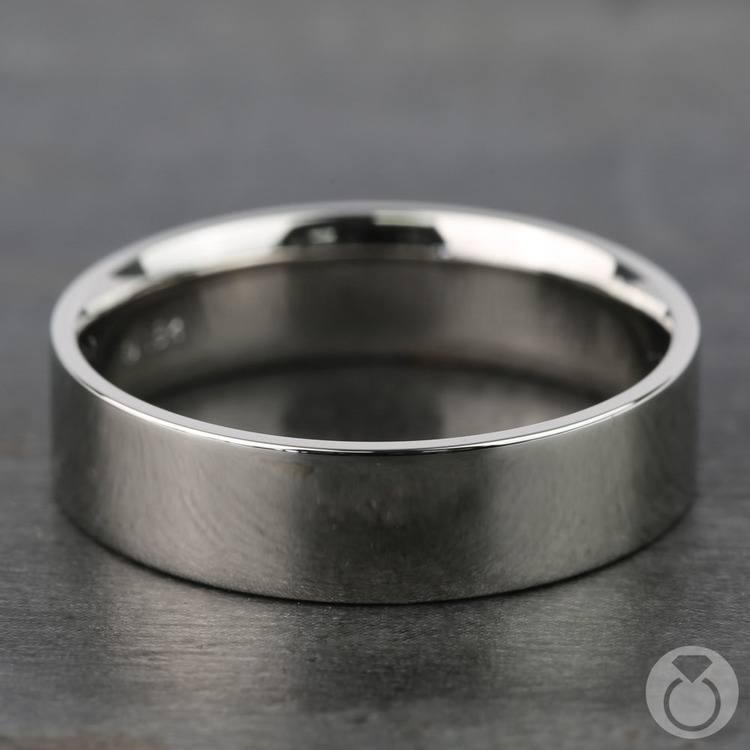Flat Men's Wedding Ring in White Gold (6mm) | 03