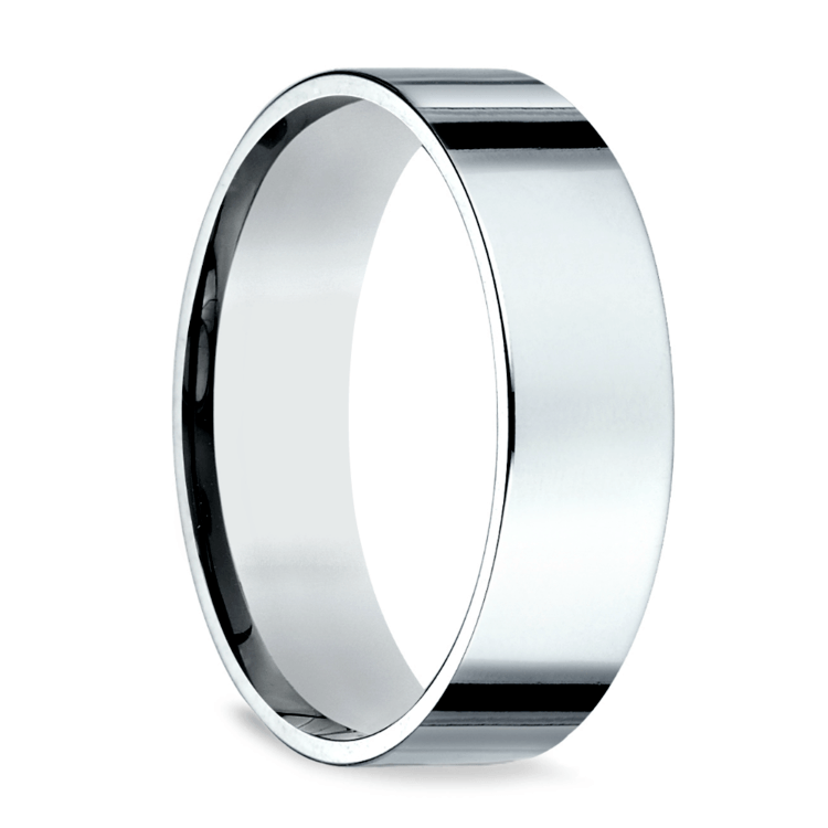 Flat Men's Wedding Ring in White Gold (6mm) | 02