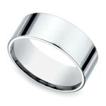 Flat Men's Wedding Ring in White Gold (8mm) | Thumbnail 01