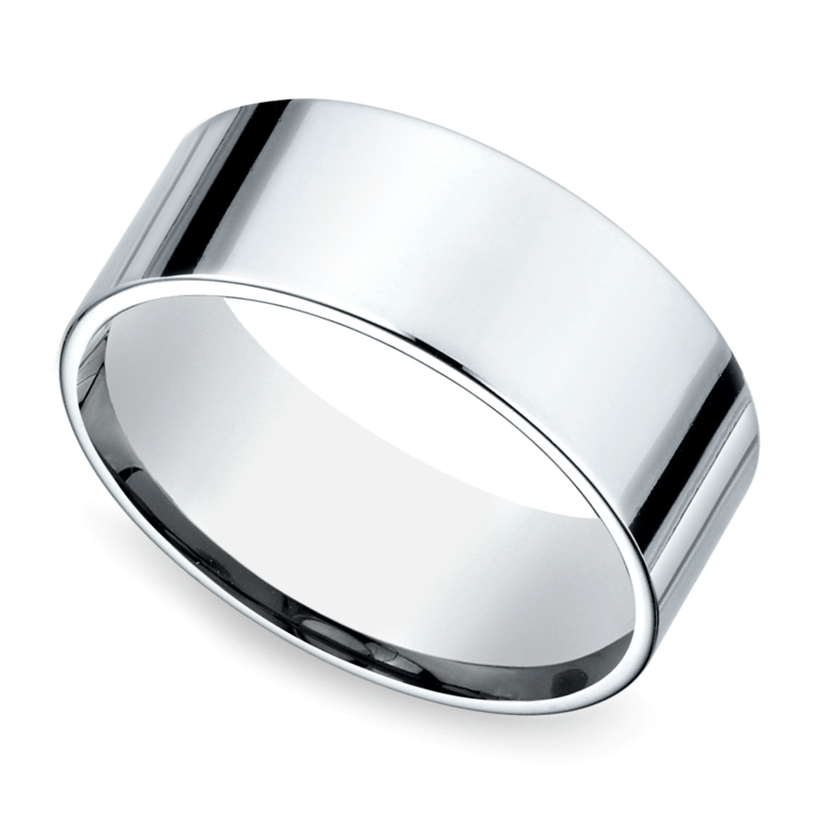 Flat Men's Wedding Ring in White Gold (8mm) | 01