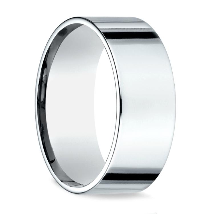 Flat Men's Wedding Ring in White Gold (8mm) | 02