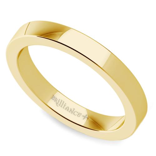 flat mens wedding ring in yellow gold 3mm - Mens Wedding Rings Gold