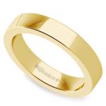 Flat Men's Wedding Ring in Yellow Gold (4mm) | Thumbnail 01