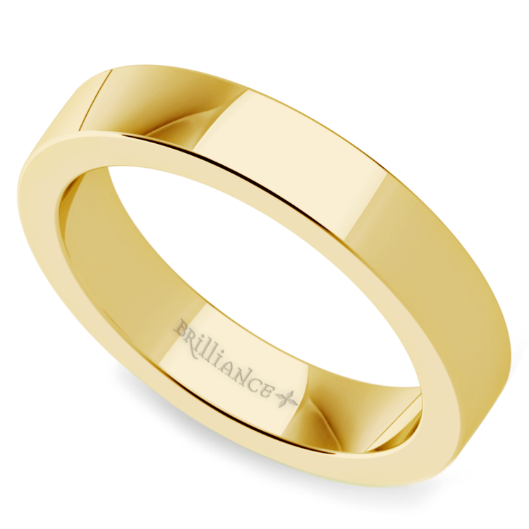 Flat Men's Wedding Ring in Yellow Gold (4mm) | Zoom