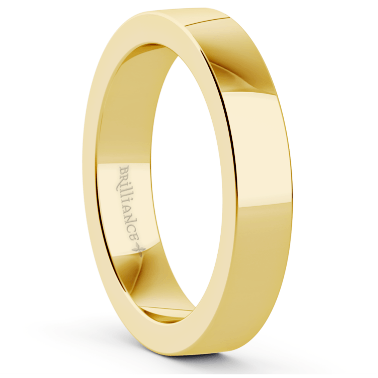 Flat Men's Wedding Ring in Yellow Gold (4mm) | 02