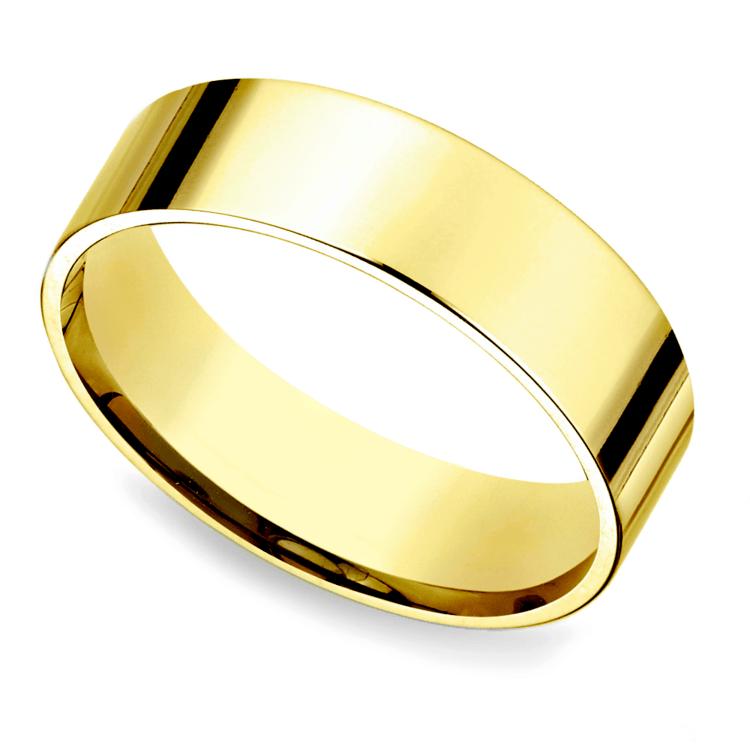 Flat Men's Wedding Ring in Yellow Gold (6mm) | 01
