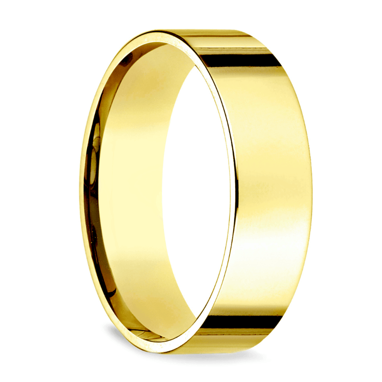 Flat Men's Wedding Ring in Yellow Gold (6mm)   02