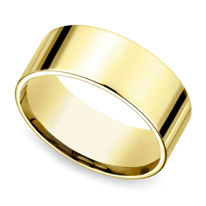 Flat Men's Wedding Ring in Yellow Gold (8mm)