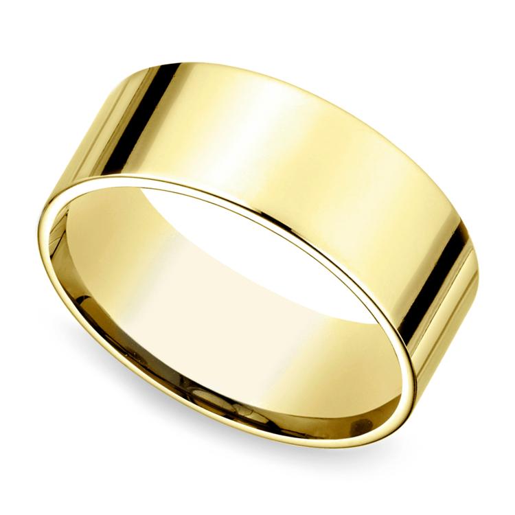 Flat Men's Wedding Ring in Yellow Gold (8mm) | 01