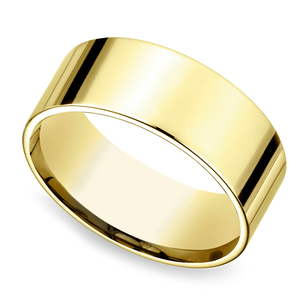 flat mens wedding ring in yellow gold 8mm - Mens Gold Wedding Ring