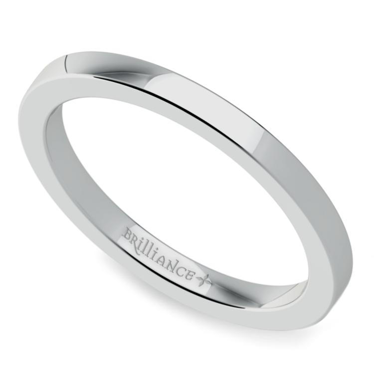 Flat Wedding Ring In Platinum (2mm
