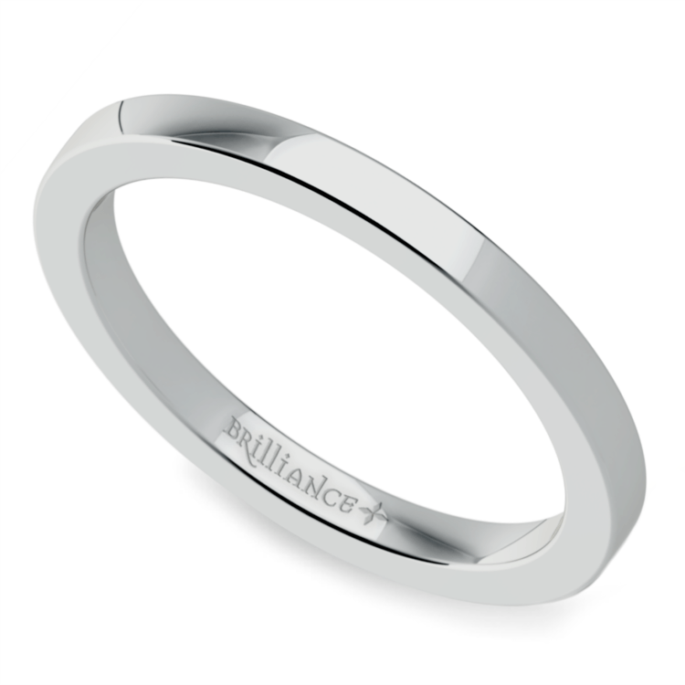Flat Wedding Ring in White Gold (2mm) | 01