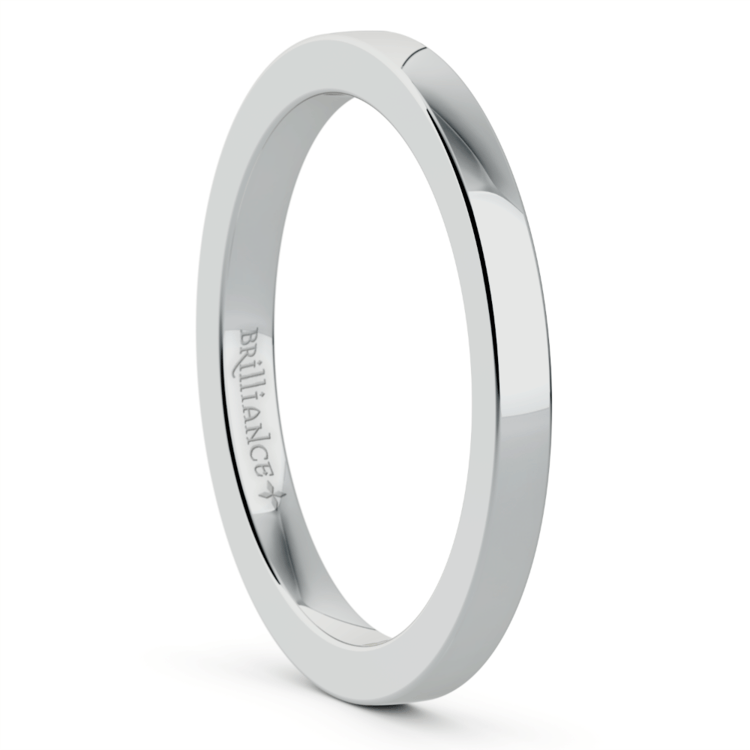 Flat Wedding Ring in White Gold (2mm) | 02