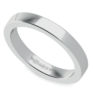 Flat Wedding Ring in White Gold (3mm)