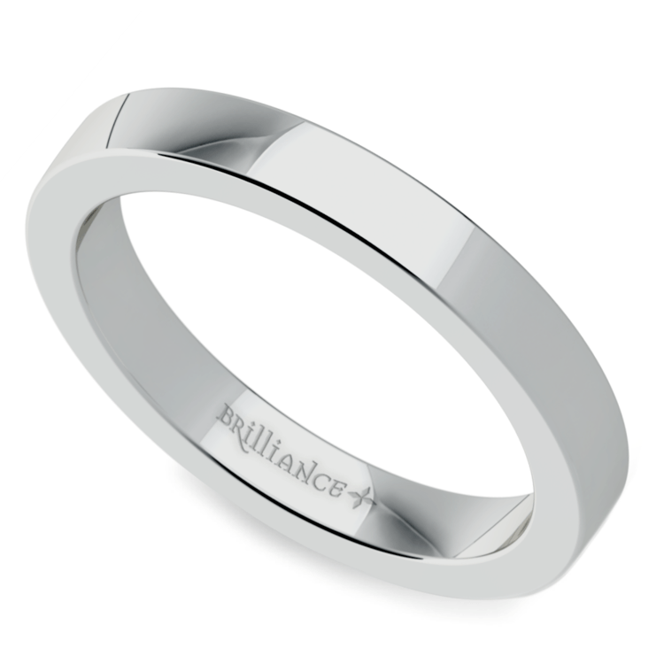 Flat Wedding Ring in White Gold (3mm) | 01
