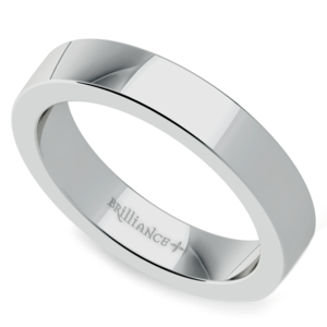 Flat Wedding Ring in White Gold (4mm)