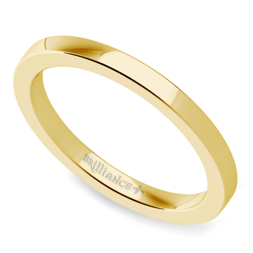 flat wedding ring in yellow gold 2mm - Yellow Gold Wedding Rings