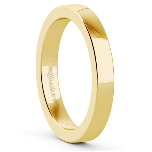 flat wedding ring in yellow gold 3mm - Yellow Gold Wedding Rings