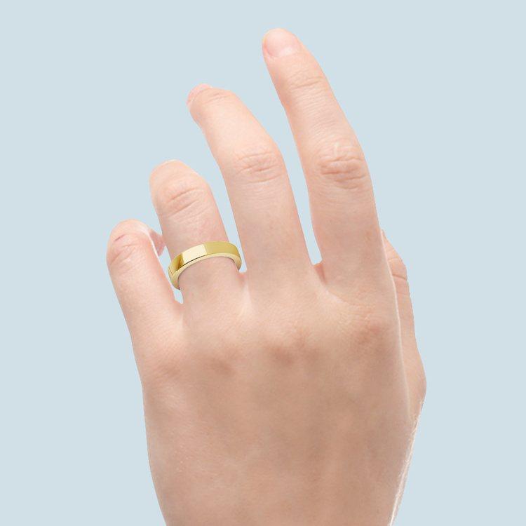 Yellow Gold Flat Wedding Ring (4 mm) | 03
