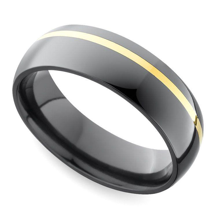 Comfort Fit Men's Wedding Ring with Offset Gold Inlay in Zirconium | 01