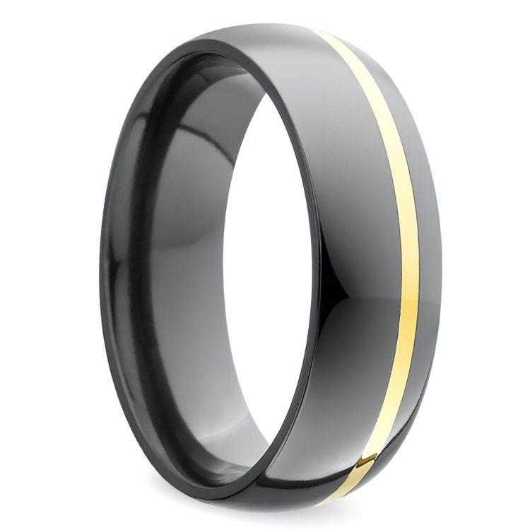Comfort Fit Men's Wedding Ring with Offset Gold Inlay in Zirconium | 02