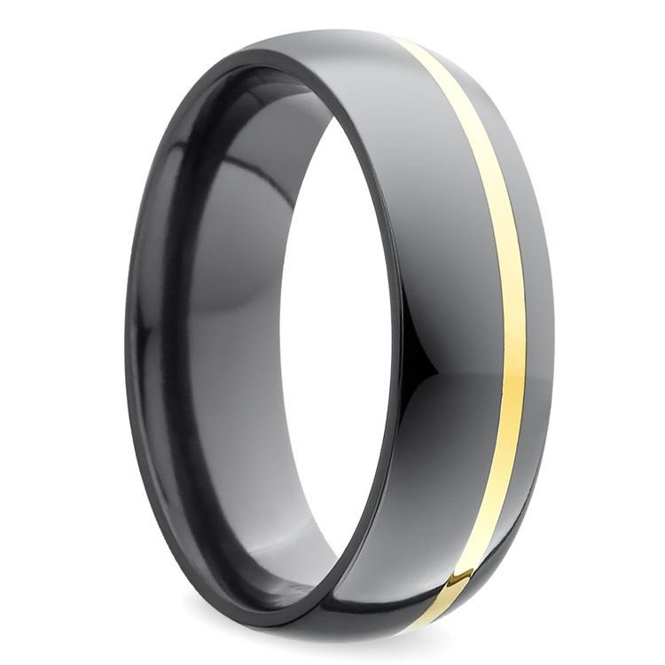 Comfort Fit Wedding Ring with Offset Gold Inlay in Zirconium | 02