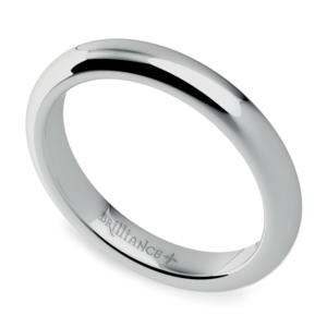 Comfort Fit Men's Wedding Ring in White Gold (3mm)