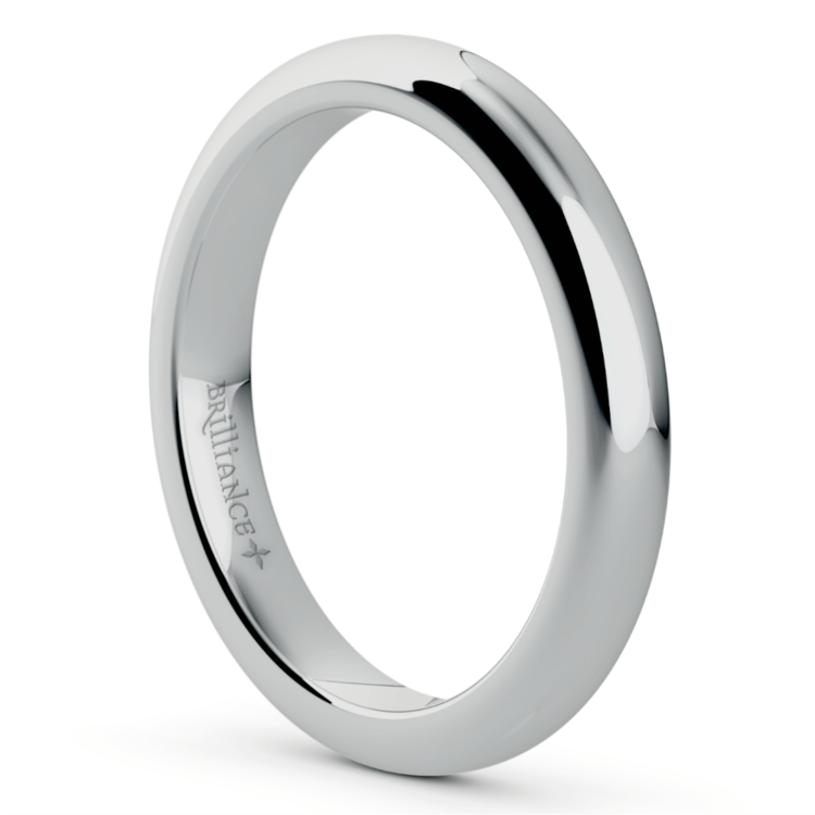 Comfort Fit Men's Wedding Ring in White Gold (3mm) | 02