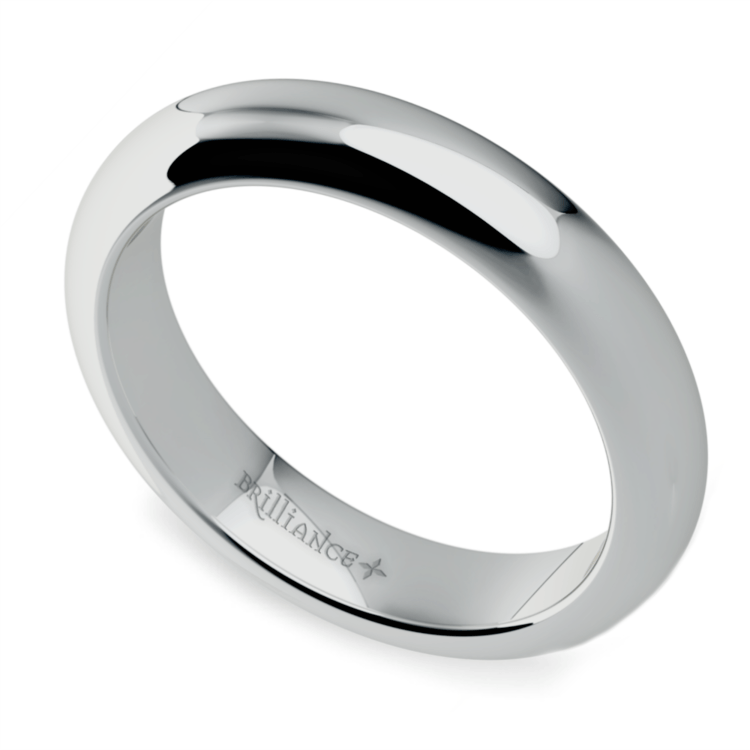 Comfort Fit Men's Wedding Ring in White Gold (4mm)  | 01