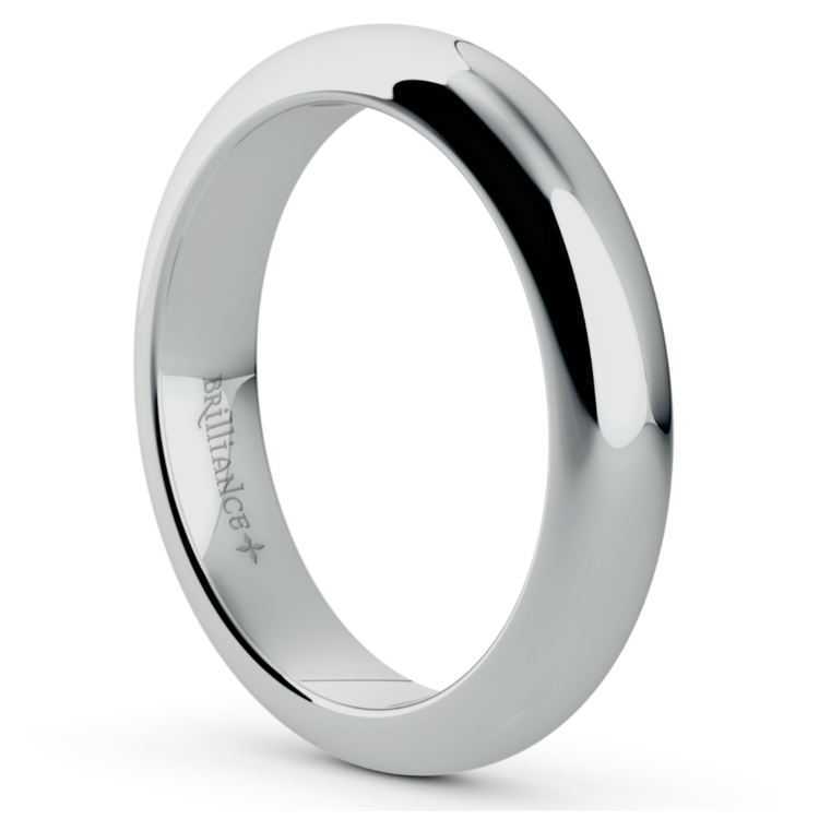 Comfort Fit Men's Wedding Ring in White Gold (4mm)  | 02