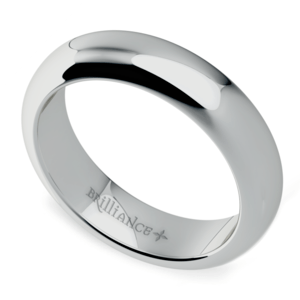 Comfort Fit Men's Wedding Ring in White Gold (5mm)