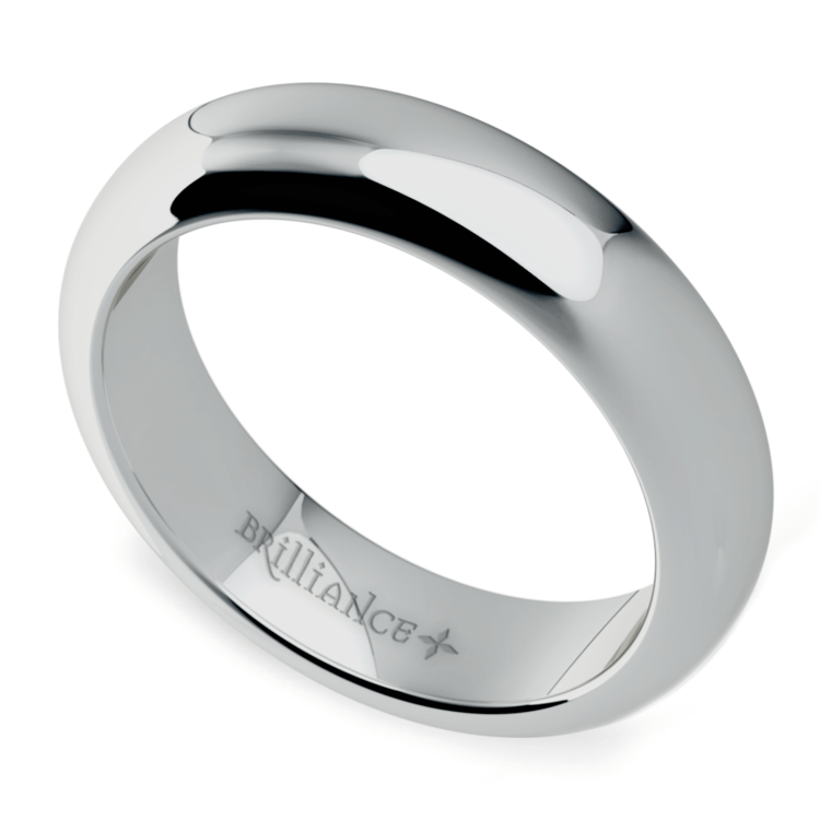 Comfort Fit Men's Wedding Ring in White Gold (5mm) | 01